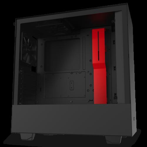 NZXT H510, matt svart/rød