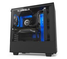 NZXT H500i, matt svart/blå